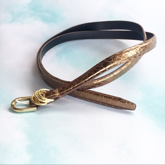 Perry Ellis Accessories - Bronze Snake Skinny Belt Size 14